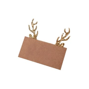 Kraft Gold Glitter Stag Antler Place Cards